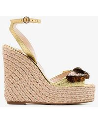 Sophia Webster - Metallic Gold And Brown Soleil Lucita 140 Leather Sandals - Lyst