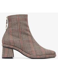 Reike Nen - Brown, Red And Black Check 80 Leather And Wool Ankle Boots - Lyst