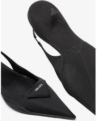 Prada 30 Slingback Leather Court Shoes - Black