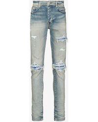 Amiri Mx1 Leather Bandana Ripped Jeans - Blue