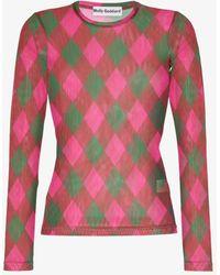 Molly Goddard Freddie Argyle Mesh Long Sleeve Top - Multicolor