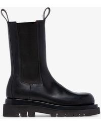 Bottega Veneta Lug Leather Chelsea Boots - Black