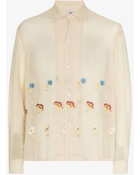 Bode Mitchell Floral Embroidered Shirt - Natural