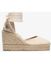 Castaner - Cream Carina 80 Ankle Tie Wedge Sandals - Lyst
