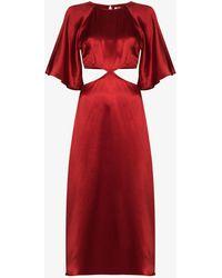 Reformation Noemi Cutout Silk Dress - Red