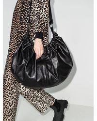 Ganni Draped Leather Xxl Hobo Shoulder Bag - Black