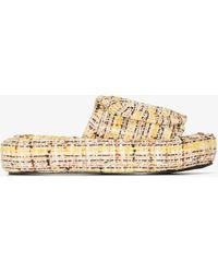 Natasha Zinko Tweed Slippers - Yellow