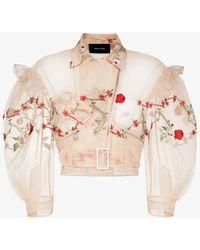 Simone Rocha Embroidered Ruffle Biker Jacket - Pink