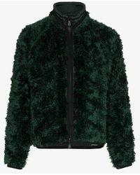 3 MONCLER GRENOBLE Drawstring Neck Knitted Mohair Blend Jacket - Green