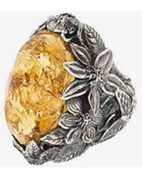 Lyly Erlandsson - Yellow Winter Leaf Engraved Ring - Lyst