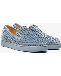 Christian Louboutin - Grey Roller Boat Stud Leather Trainers - Lyst