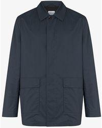 Sunspel Patch Pocket Wax Jacket - Blue