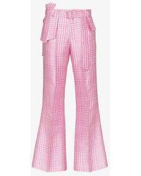 Ronald Van Der Kemp Houndstooth Belted Silk Trousers - Pink