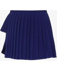 Maximilian X Browns Focus Asymmetric Pleated Mini Skirt - Blue
