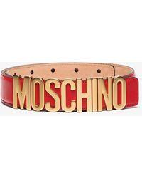Moschino Logo Buckle Belt - Red