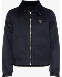 Prada - Logo Plaque Detachable Sleeve Cotton Blend Bomber Jacket - Lyst