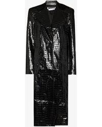ROTATE BIRGER CHRISTENSEN Eliane Embossed Faux Leather Coat - Black