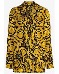 Versace Baroque Print Silk Pajama Shirt - Black