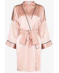 Olivia Von Halle Silk Night Robe - Pink