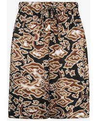 Edward Crutchley Cloud Print Silk Bermuda Shorts - Brown