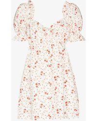 Reformation Channa Floral Print Linen Mini Dress - White