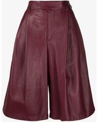Bottega Veneta Wide Leg Leather Bermuda Shorts - Red
