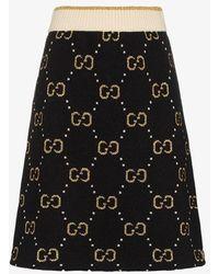 Gucci GG Pattern Knit A-line Skirt - Black