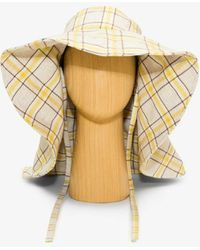 Rejina Pyo Yellow Daisy Check Linen Hat - Grey