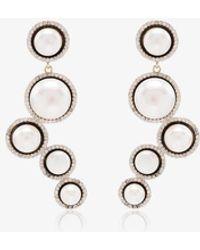 Mateo Cascade 14k Yellow Gold Pearl And Diamond Earrings - Metallic