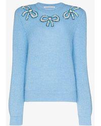 Alessandra Rich Sequin Bow Wool Jumper - Blue
