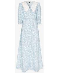 Masterpeace Oversized Collar Floral Print Cotton Maxi Dress - Blue