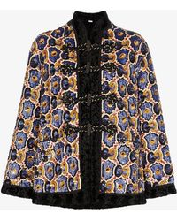 Gucci Womens 1000 Multicoloured Sequinned Faux Fur Trim Coat - Multicolor