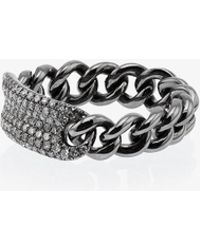 SHAY - Metallic Silver Chain Link Diamond Ring - Lyst