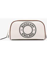 Burberry Logo Stamp Makeup Bag - White