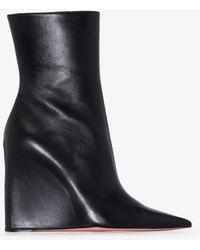 AMINA MUADDI Pernille 95 Leather Wedge Boots - Black