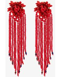 MaryJane Claverol Mandala Bead Tassel Earrings - Red