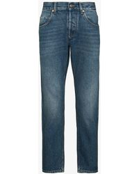 Gucci Cropped Straight Leg Jeans - Blue