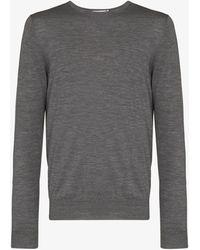 Sunspel Fine Knit Merino Jumper - Grey