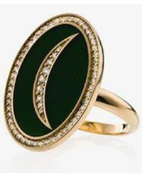 Andrea Fohrman - Crescent Moon 18k Gold Diamond Ring - Lyst