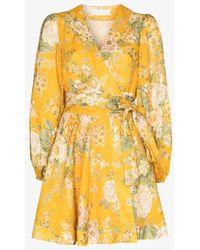 Zimmermann Amelie Floral Wrap Dress - Yellow