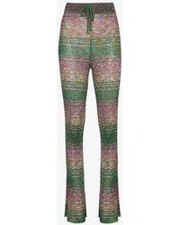 Marques'Almeida Striped Rib Knit Trousers - Purple