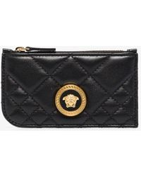 Versace Icon Quilted Leather Card Holder - Black