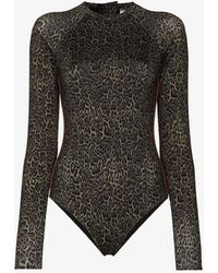 The Upside Maya Leopard Print Paddle Suit - Green
