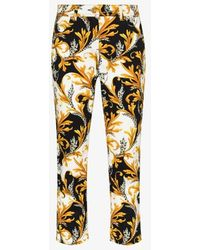 Versace Acanthus Print Cropped Jeans - White