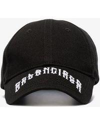 882e039f747 Balenciaga - Black Tattoo Logo Cotton Baseball Cap - Lyst