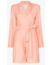 f8d6bfd3282 Matériel - Structured Belted Wool Romper - Lyst