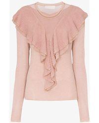 Peter Pilotto Ruffle Lurex Sweater - Pink