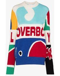 CHARLES JEFFREY LOVERBOY Graphic Motif Wool Sweater - Blue