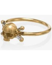 Polly Wales Womens Metallic 18k Yellow Gold Skull With Diamond Baguette Cross Bones Ring