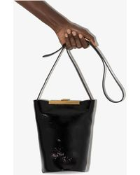 Khaite Etta Patent Leather Bucket Bag - Black